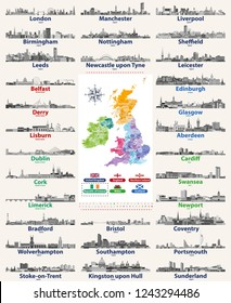 vector set of British Isles countries cities skylines icons in black and white color palette. Flags and high detailed vector map of British countries.