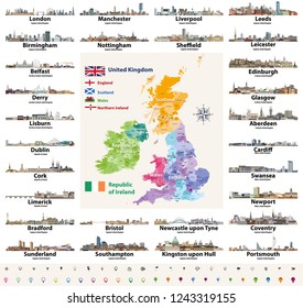 vector set of British Isles countries cities skylines abstract icons. Map and flags of British Isles: United Kingdom (England, Wales, Scotland, Northern Ireland) and Republic of Ireland