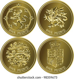vector set British money gold coin one pound sterling with the emblems of England, Scotland, Wales, United Kingdom