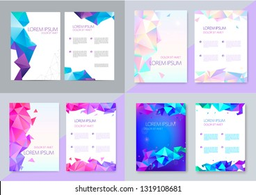 Vector set of brochure design templates, cover design, flyers. Abstract business flyer A4, geometric triangle facet style with 3d shapes