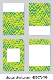 Vector set of brochures and cards in vintage style. Green pattern for ecology presentation, sale, organick shop and eco business. Natural green pattern on the bussiness cards for identity style.