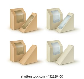Vector Set of Brown Blank Cardboard Rectangle Triangle Take Away Boxes Packaging For Sandwich, Food, Gift, Other Products with Plastic Window Mock up Close up Isolated on White Background