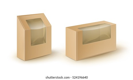 Vector Set of Brown Blank Cardboard Rectangle Take Away Boxes Packaging For Sandwich, Food, Gift, Other Products with Plastic Window Mock up Close up Isolated on White Background