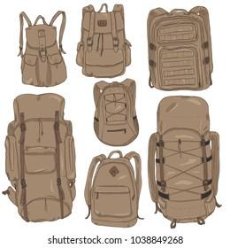 Vector Set of Brown Cartoon Backpacks. Casual, Fashion, Hiking, Sport and Tactical Knapsacks
