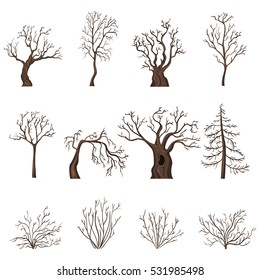 Vector Set of Brown Cartoon Bare Trees and Shrubs without Leaves