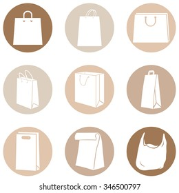 Vector Set of Brown Circle Shopping Bags Icons