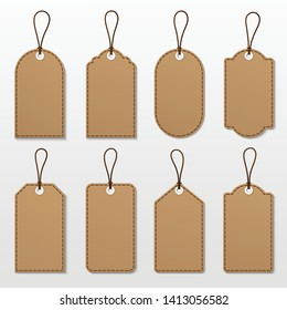 Vector set of brown tags label.