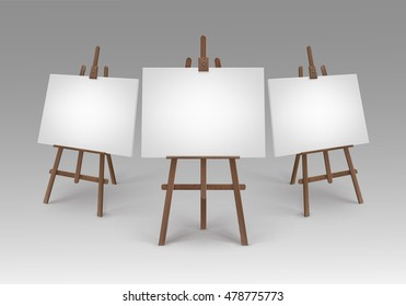 Vector Set of Brown Wooden Easels with Mock Up Empty Blank Canvases Isolated on Background
