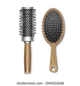 Vector Set of Brown Wooden Grooming and Plastic Hot Curling Radial Hair Brush Comb Top View Isolated on White Background