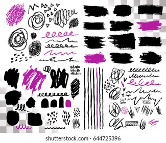 Vector Set of brush acrylic strokes. Black violet color on white background. Hand painted grange elements. Ink drawing. Dirty artistic design . Place for text, quote, information, company name