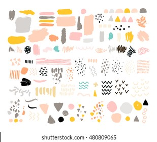 Vector set of brush strokes, abstract elements, ink stains and grunge textures isolated on white. Art collection for design cards, banners, backgrounds
