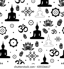 Vector Set of Buddhist religious sacred symbols in seamless pattern. Illustration with flat lay oriental ornament. Abstract black on white background with Buddha Endless Knot Lotus flower and OM sign