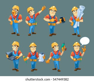 vector set of builders or handymans in action poses with equipment and accessories isolate on dark background