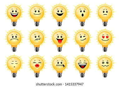 Vector set of bulb emoticons. Collection of characters of shining electric light bulbs with different emotions in cartoon style on white background. Concept of idea, creativity, innovation.