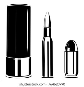Vector set bullet caliber of weapon, pistol, rifle, shotgun shell cartridges