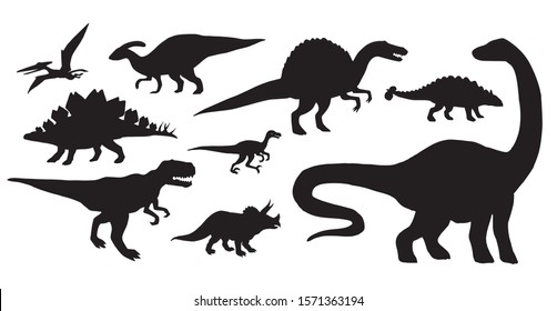 Vector set bundle of black dinosaurs silhouette isolated on white background
