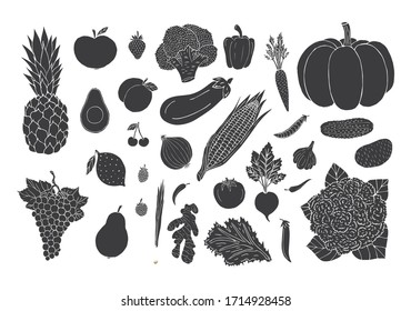 Vector set bundle of black hand drawn doodle sketch vegetables fruit and berries isolated on white background