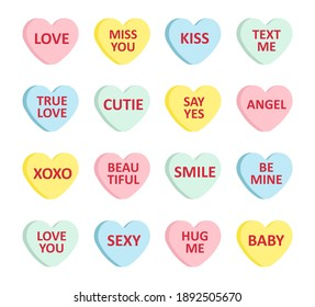 Vector set bundle of different color flat cartoon Valentine's candy with love text isolated on white background