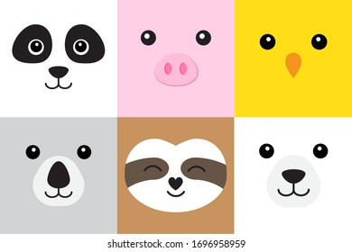 Vector set bundle of flat cartoon different animals faces isolated on white background