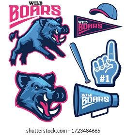 vector of set bundle of sport wild boar mascot