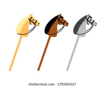 Vector set bundle of three different color flat cartoon riding hobby horse toy isolated on white background