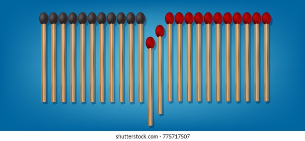 Vector Set of Burned Matches at Various Stages Close up Top View Isolated
