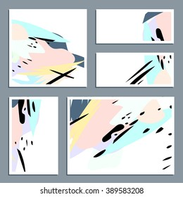 Vector set of business cards with abstract pastel shapes and black stains.