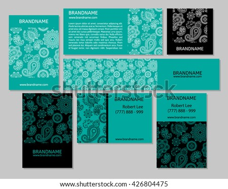 Vector set business cards banners oriental stock vector royalty vector set of business cards and banners with oriental pattern paisley and mandala modern colourmoves