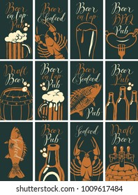 Vector set of business cards for the pub on the subject of beer and snacks from seafood with handwritten inscriptions in retro style on black background