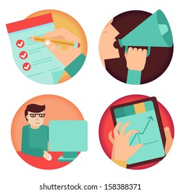 Vector set of business concepts - advertising, agreement, development - in flat retro style