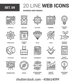 Vector set of business and finance line web icons. Each icon with adjustable strokes neatly designed on pixel perfect 64X64 size grid. Fully editable and easy to use.