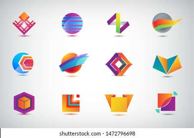 Vector set of Business Icons, logos. Illustration, Graphic Design, Collection Of Flat Icons, circle, origami