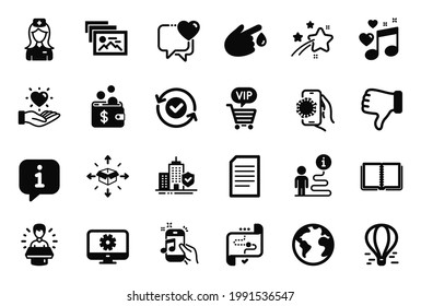 Vector Set of Business icons related to Vip shopping, Hold heart and Brand ambassador icons. Air balloon, Hospital nurse and Security confirmed signs. Target path, Parcel delivery and Heart. Vector