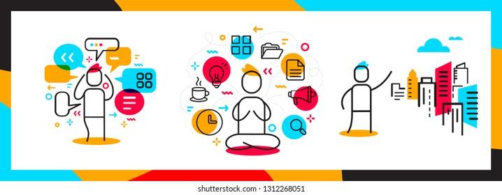 Vector set of business illustration of people. Communication, management and real estate agent creative concept. Line art style design for web, site, banner, advertising