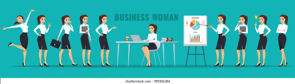 Vector set of business woman character poses, gestures and actions.