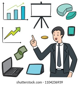vector set of businessman and business icon