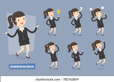 Vector Set of Businesswoman Characters. Cute businesswoman characters in various actions.