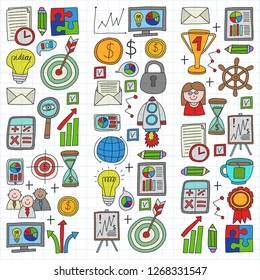 Vector set of bussines icons in doodle style. colorful on a piece of paper on white background.