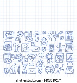 Vector set of bussines icons in doodle style. painted by penon a piece of paper in cage.