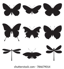 Vector set of butterflies and dragonflies on a white background. Silhouettes of butterflies and dragonflies isolated.