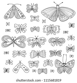 Vector set of butterflies in ethnic Boho style with ornaments. Can be used as coloring page, template, scrapbooking, your design, etc.