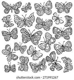 Vector set of butterflies. Hand-drawn ornate butterflies isolated on white background.