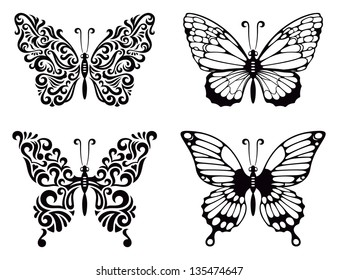 Vector set of butterflies, vector illustration