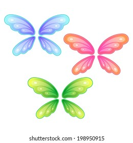 Vector set of butterfly wings