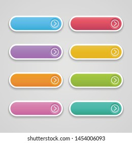 Vector set button colorful long round for web design.