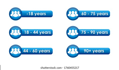 Vector set of buttons with age limits for statistics, surveys, and categorization of the population and citizens.