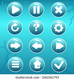 Vector set of buttons devoted to nautical topic. Perfect GUI for the sea or ocean game or other graphic design works