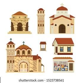Vector set of Byzantinian buildings. Ancient architecture. Churches, rotunda, living house, ceramics workshop, tower, well. Middle Eastern culture. Flat illustration.