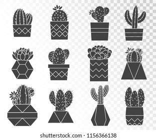 Vector set of cacti and succulents in flower pots. Collection of silhouettes.