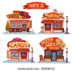 Vector set of Cafe, restaurant, ice-cream shop and bakery.
